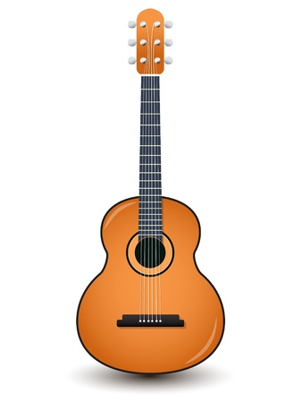 guitarra clásica: Guitarra ac�stica aislado en un blanco Vectores