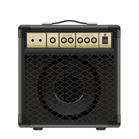 amp: guitar amplifier isolated on a white background