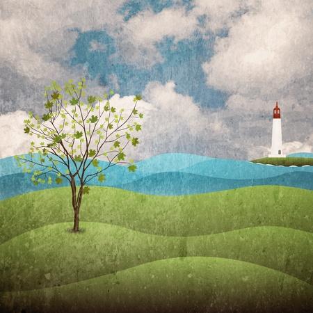 floral grunge: Landscape grunge background