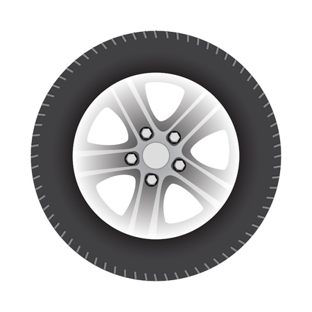 aluminum wheels: car wheel vector illustration isolated on white background