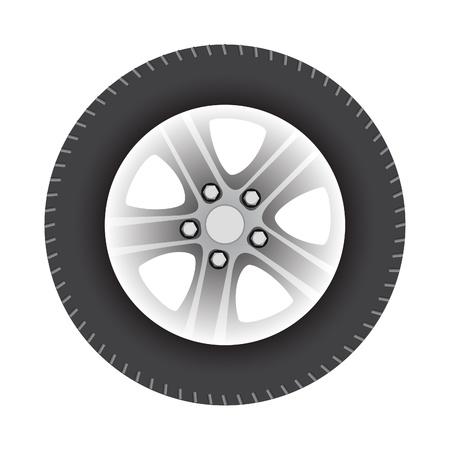 aluminum wheels: ilustraci�n vectorial de coche rueda aislada sobre fondo blanco