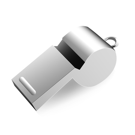 whistle: Metal whistle on a white background, vector