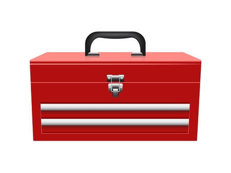mechanic tools: closed red toolbox isolated on white background Illustration