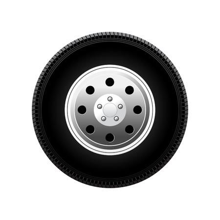 ruota auto illustrazione vettoriale isolato su sfondo bianco