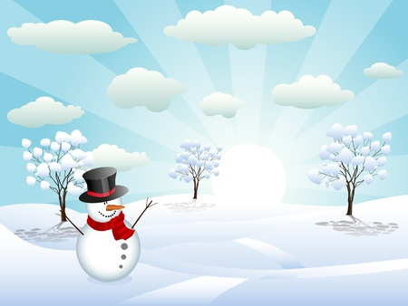 illustration of a snowman in a winter shiny day Vector