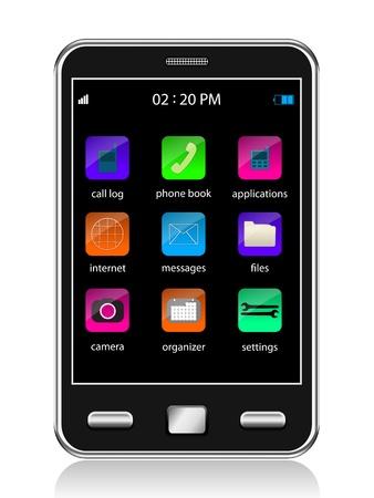 Touchscreen smartphone, vector Vector
