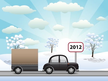 car with a trailer to go in 2012 Stock Vector - 11831062