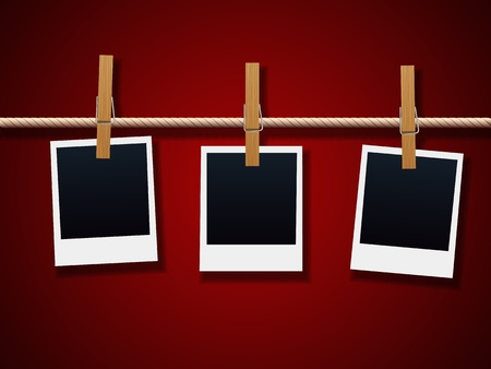 Photo Frames On Rope Stock Vector - 11831068