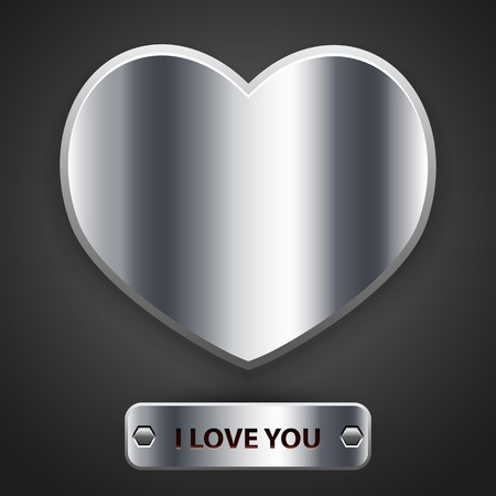 metalic texture: Metal heart, vector Illustration