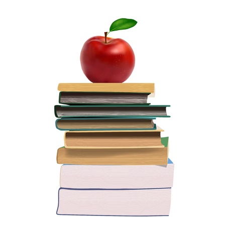 library book: Books and an apple