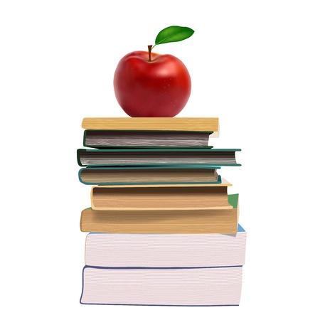 etudiant livre: Livres et une pomme Illustration