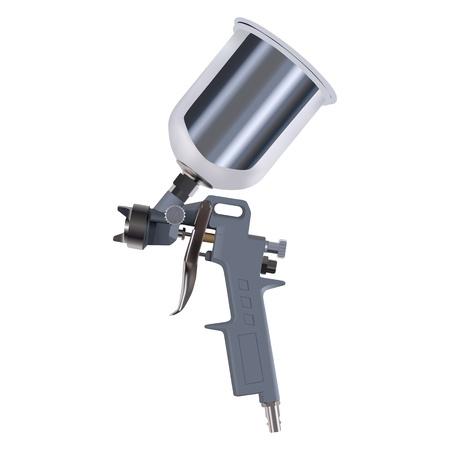 geweer: Spuitpistool geà ¯ soleerd op witte achtergrond