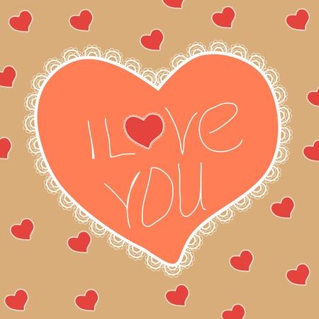 frill: Vintage Valentine heart Illustration