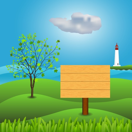 Wooden sign on a background of greenery and the sea Vector