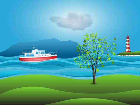 speedboat: red white yacht Illustration