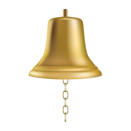 yacht isolated: Golden ships bell