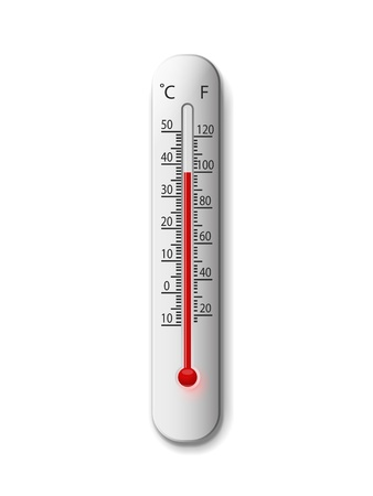 hot temperature: thermometer on a white