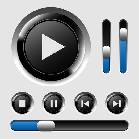 player controls: Reproductor de medios conjunto de botones, eps10 Vectores