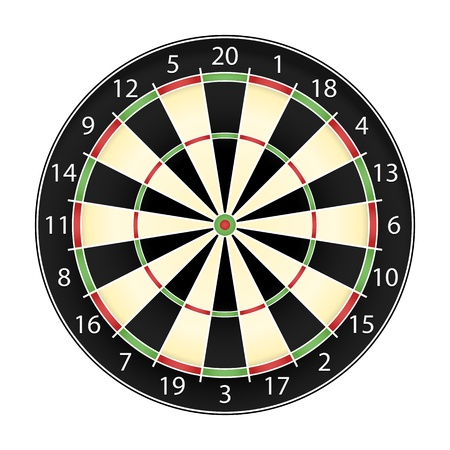 dart board: Dart board over white background, realistic vector illustration eps10