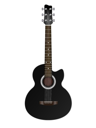 one object: acoustic classic guitar illustration isolated on white background