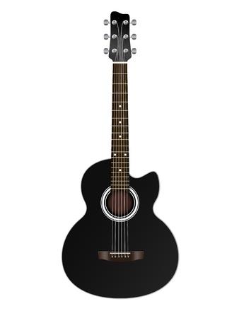 jazz guitar: acoustic classic guitar illustration isolated on white background