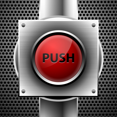 red push button  Stock Vector - 15629378