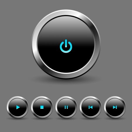 player controls: Media player button set Illustration