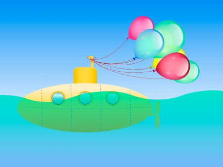 yellow submarine and festive balloons Vector