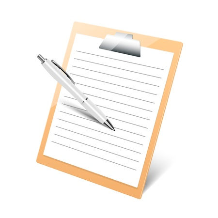 clipboard with pen on white background Иллюстрация