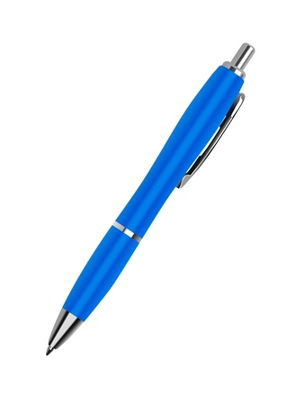 blue pen: Blue pen on a white background