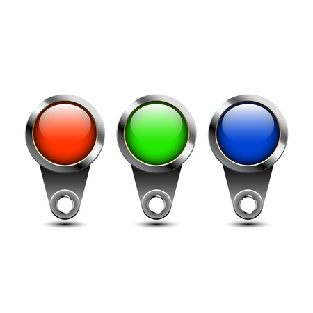 Three color buttons Stock Vector - 17355281