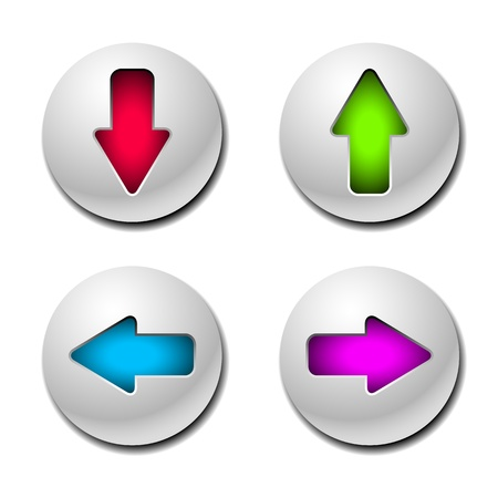 down arrow: four white buttons with colored arrows