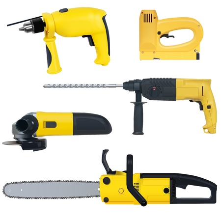 power tools set isolated on a white background Vector