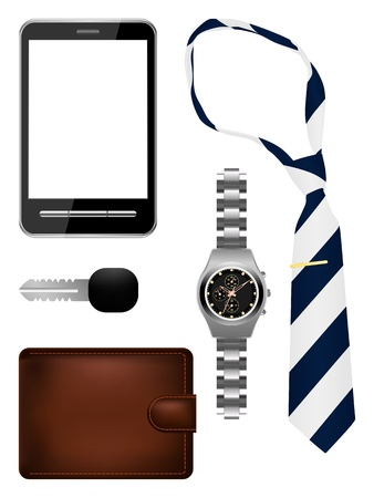 illustration of business man accessories set Vector Illustration