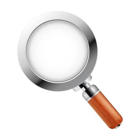 Magnifying glass over white background Illustration