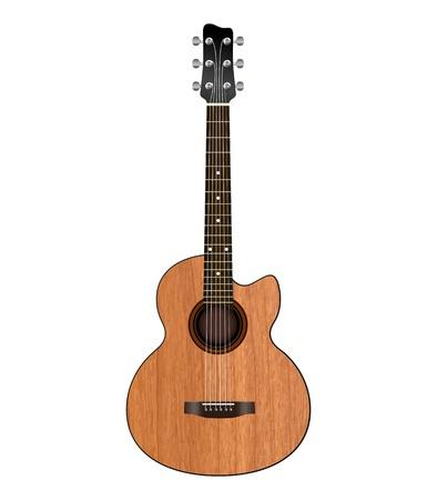 frets: guitarra ac?stica sobre un fondo blanco