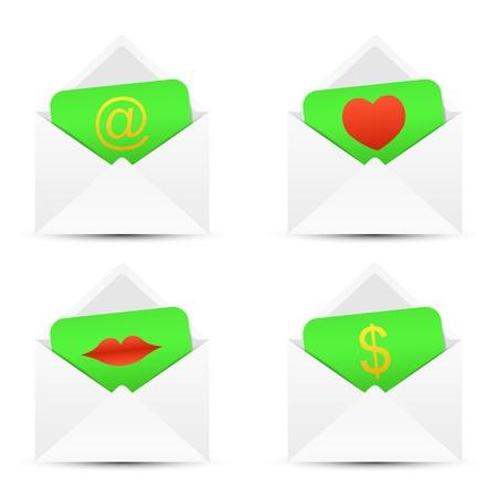 money order: paper envelopes on a white Illustration