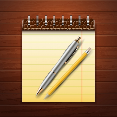 Note Pad, Pencil and Pen on Wood Background Stock Vector - 21433676