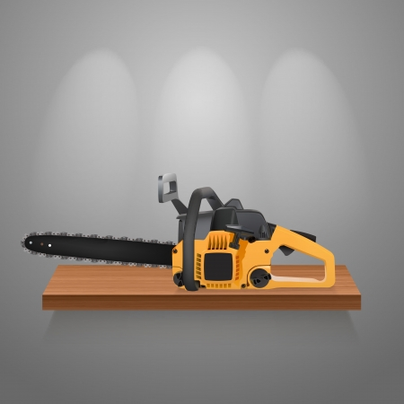 chainsaw on a wooden shelf Stock Vector - 21694220