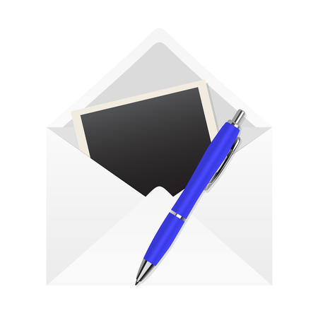 blue pen: blue pen, photo farme and letter on a white background
