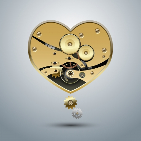 ironworks: Metal steampunk heart with gears