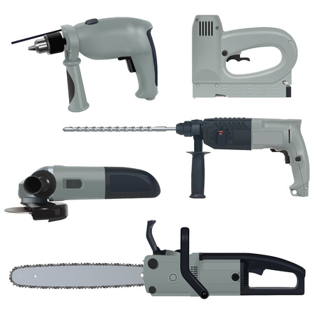 selector: power tools set isolated on a white background