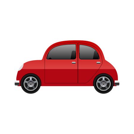 classic cars: Red car, vector Illustration