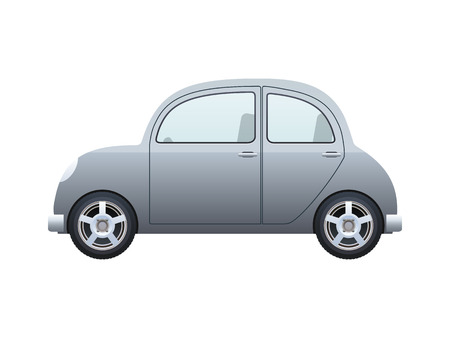 side by side: silver car isolated on a white background, vector eps10