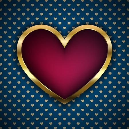 Vector red heart in golden fram
