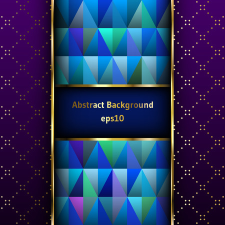 purple and gold: Colorful triangles in a gold frame on a purple background with a pattern. Abstract background.