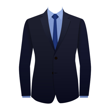suit: Blue business suit with a tie