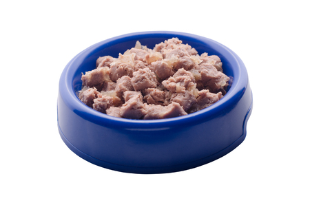 canned meat: Cat food in bowl on white background Stock Photo