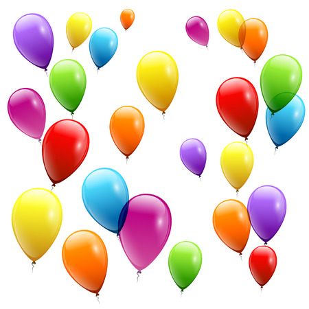 Festive Balloons real transparency. Vector illustration 일러스트