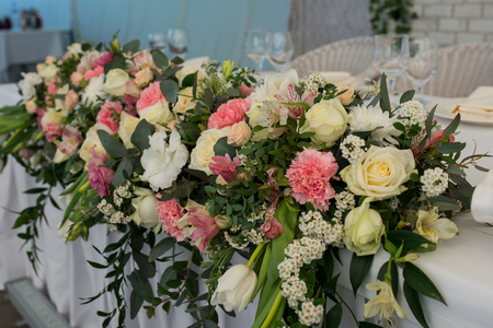 Rustic flower arrangement with white and pink flowers at a wedding rustic flower arrangement with white and pink flowers at a wedding banquet table set for mightylinksfo